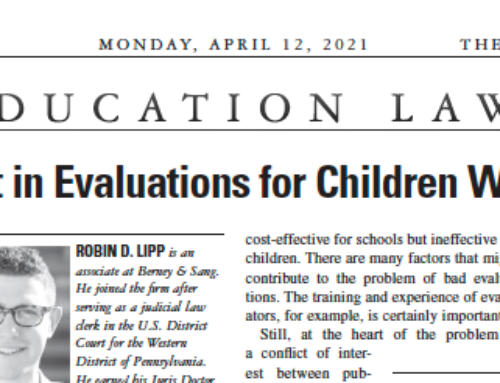 Robin Lipp in Legal Intelligencer: A Conflict of Interest in Evaluations for Children with Special Needs